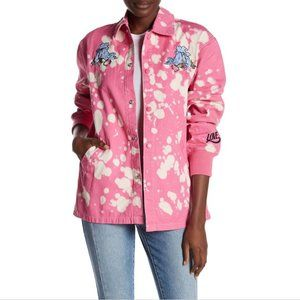 Bleach Dye Love Stings Embroidered Coach Jacket